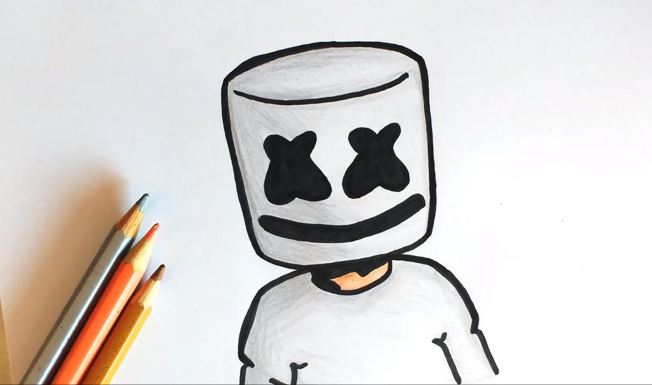 how to draw marshmello