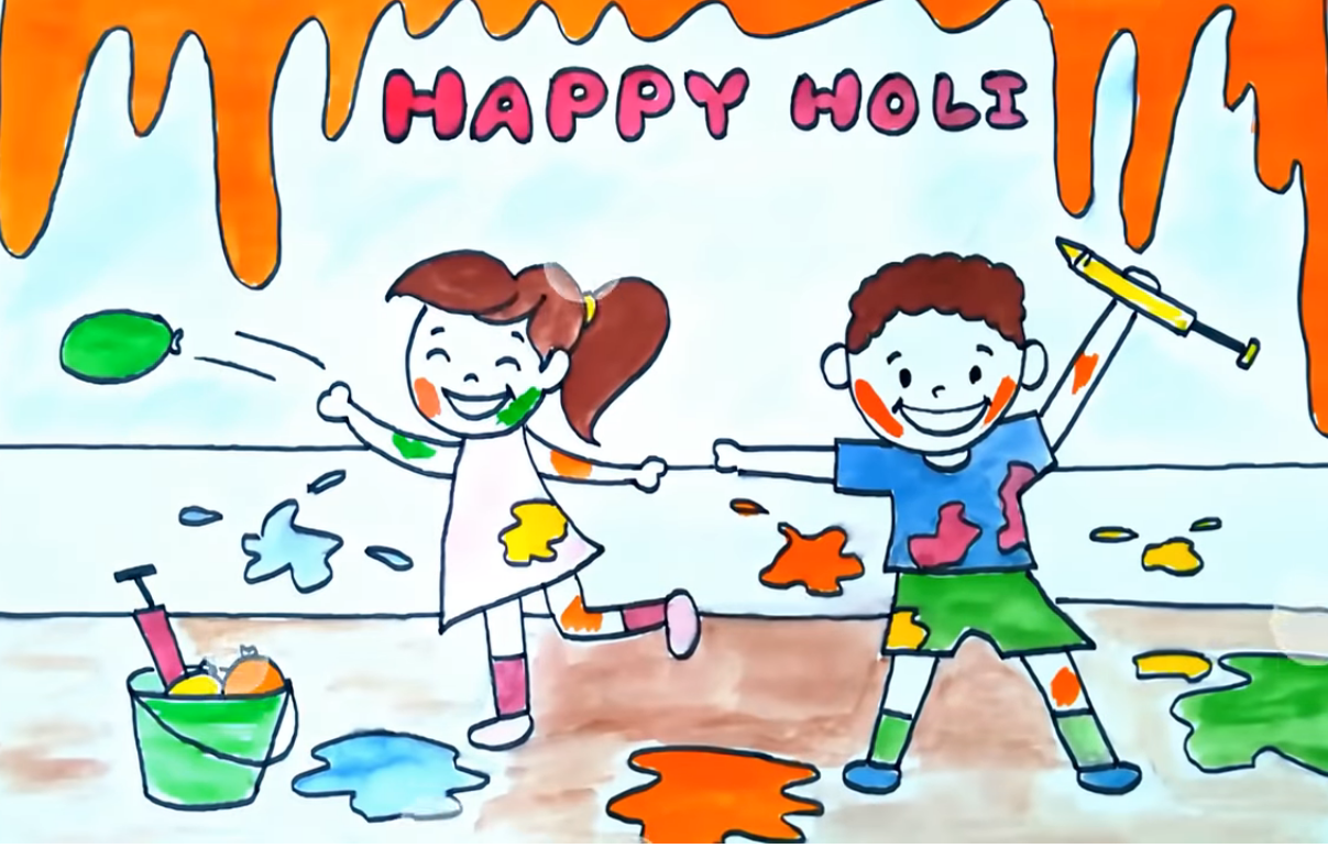 holi drawing for kid