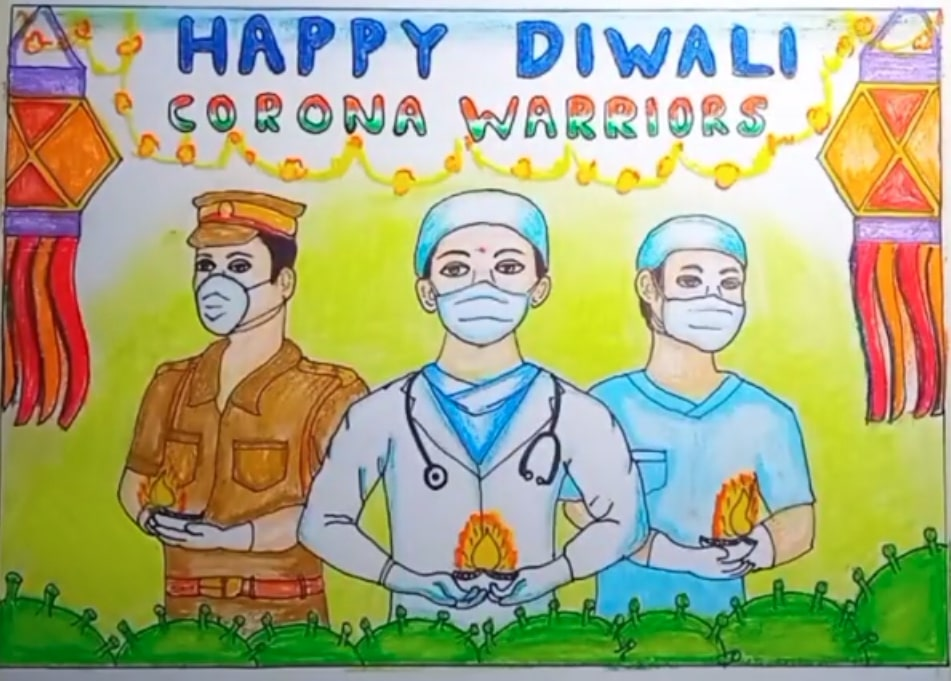 happy diwali drawing